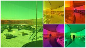 מסדרון צבעוני על גג מוזיאון Aros