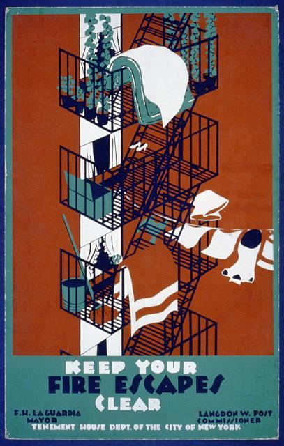 פוסטר לעידוד פינוי מדרגות החירום