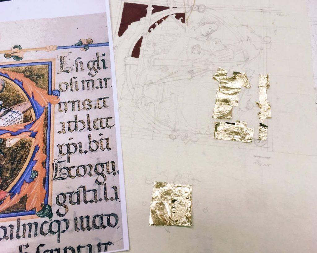 תהליך ציור מיניאטורה (איורים קטנים שהופיעו בכתבי יד), שלב ציפוי עלי הזהב.