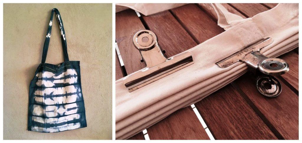 התיק שצבעתי בטכניקת איטג'ימה - לפני ואחרי