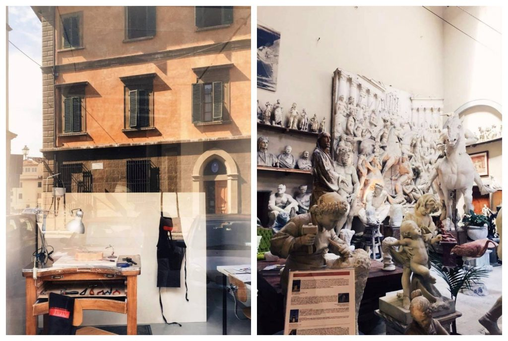 מימין: בית מלאכה ליצור פסלים - borgo san frediano. משמאל: בית הספר לתכשיטנות ״אלכימיה״ - פיאצה דלה קרמינה