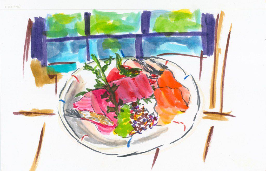 ציור של צלחת עם אוכל